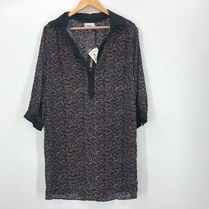 Leona NWT $265 multi dot shirt dress collar tunic
